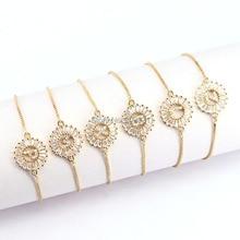 12 Cái Đồng Pave Thiết CZ Pha Lê Văn Vòng Tay Vòng Hình Dạng Đồ Trang Sức Có Thể Điều Chỉnh Bracelet Đối Với Phụ Nữ