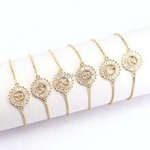 12 Stücke Kupfer Pflastern Einstellung CZ Kristall Brief Armbänder Runde Form Schmuck Einstellbare Armband Für Frauen