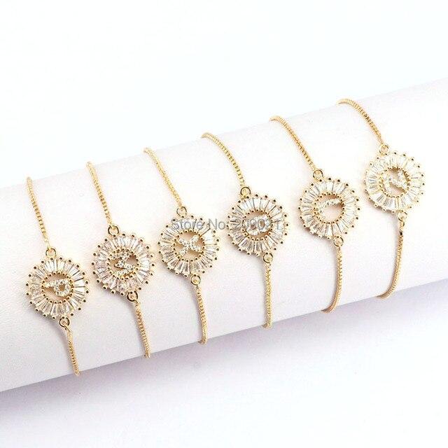 12Pcs Copper Pave Setting CZ Crystal Letter Bracelets Round Shape Jewelry Adjustable Bracelet For Women