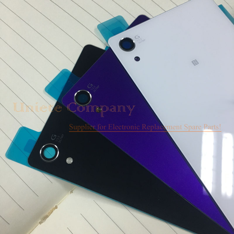 100 Original genuine Back Glass Cover Battery Door Housing Case With Adhesive Sticker For Sony Xperia