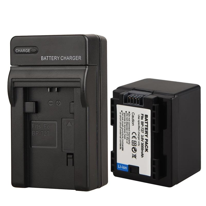 3000 mah BP-727 Décodé Camara Batterie + Chargeur pour Canon VIXIA HF R30 M50 M52 500 M56 M506 R36 R38 r306 R400 R500 R600 R60 R62
