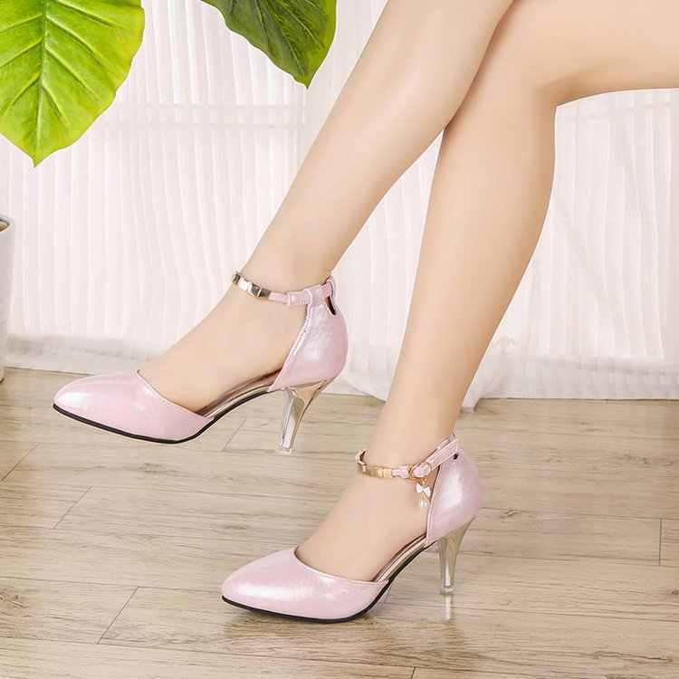 SLYXSHPlus Size 35-43 Vrouwen Enkelbandje Pompen Hoge Hakken Jurk Schoenen Pearly-glans Trouwschoenen Vrouw Bruids schoenen Dames Schoenen