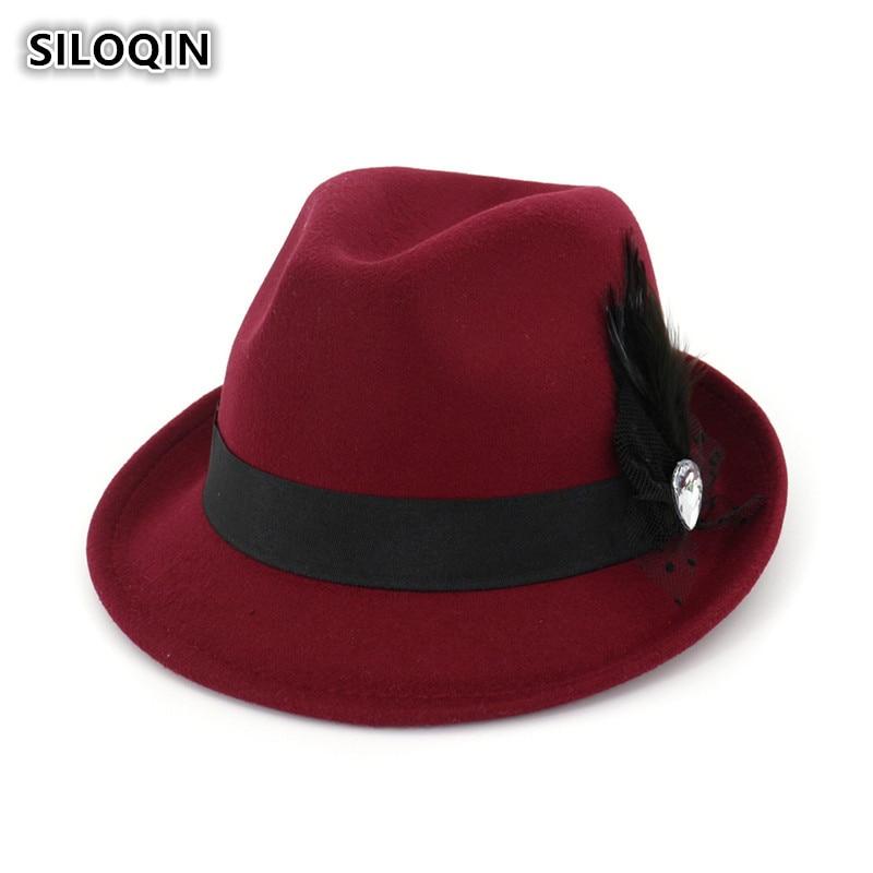 ef72dd2356602 SILOQIN Women s Cap Feather Headdress Decorative Fedoras Hats Elegant Jazz  Cap Brand Sun Visor Hat For Women Young Mother s Caps