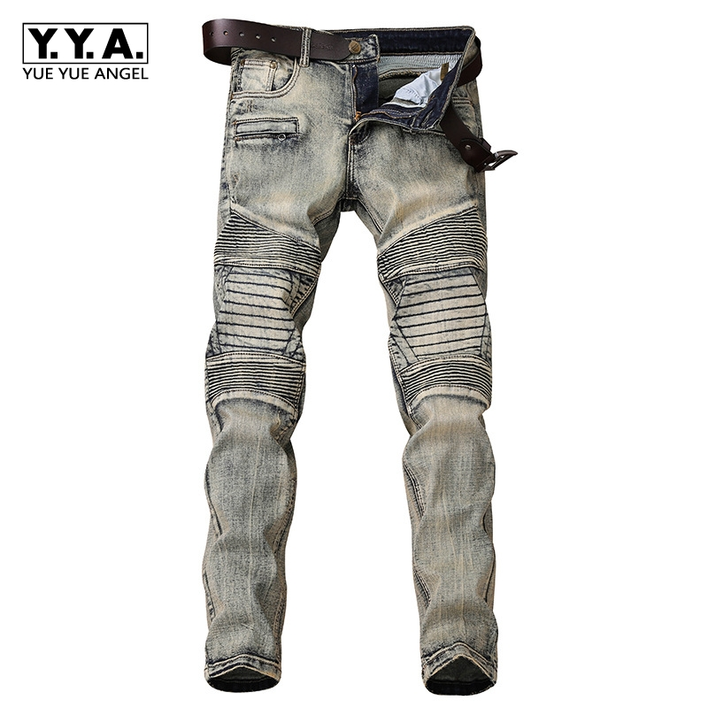 Vintage Retro European Mens Fashion Trend Jeans Man Slim Motorcycle Long Pants Casual Trousers Male Denim Stretch Skinny Solid