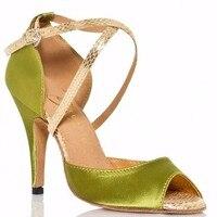 Professional Discount Satin Latin Dance Shoes Woman Popular Green Mid High Heels Tango Salsa Shoes Ladies