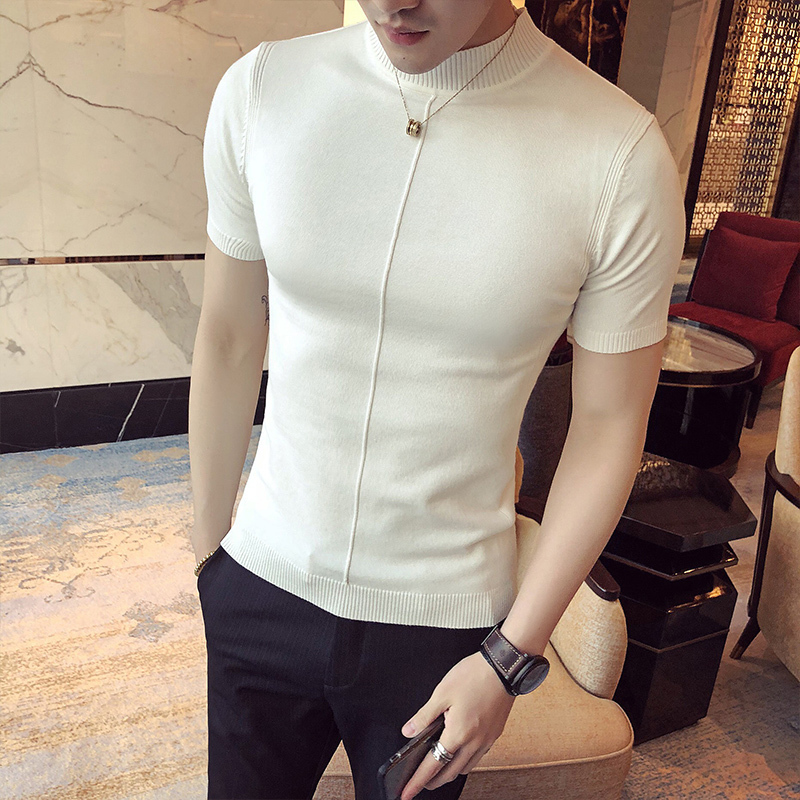 Image 4 - Casual Self cultivation High Lead Neck Knitting Men Sweater 2018 Autumn Leisure Long Sleeve Warm Solid Color Male Pullover M 3XL-in Pullovers from Men's Clothing