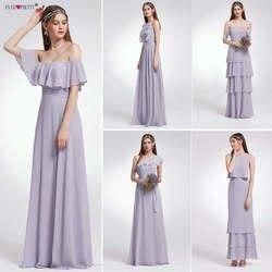 Ever-Pretty женское свадебное длинное платье подружки невесты из шифона Сексуальная линия без рукавов Формальное свадебное вечерние платье для