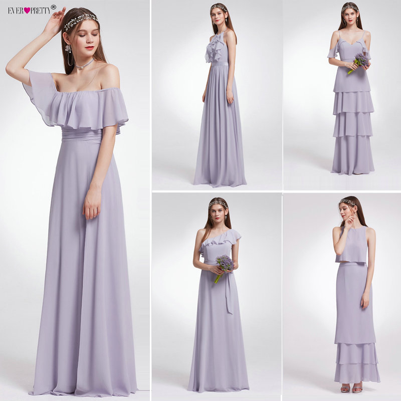 Ever Pretty Women Wedding Long Bridesmaid Dresses Chiffon Sexy A Line Sleeveless Formal Wedding Guest Party Bridesmaid Dress