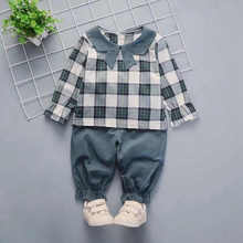 2pcs Toddler Kids Girls Clothes Set Plaid Floral Tops+Pants Outfits Set Long Sleeve Cute Baby Girl Spring Suits Clothing Set недорого