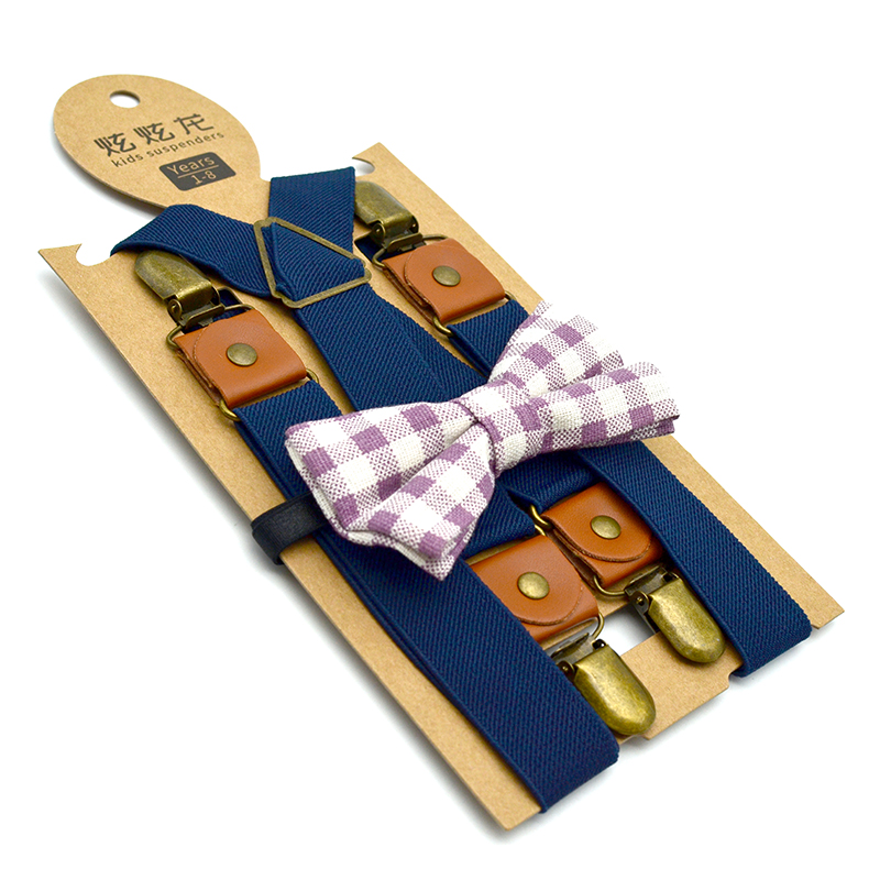 Kids Suspenders Bow Tie Set 4 Clips 2.5 Cm Width 65 Cm Length Polyester Pu Materiial Unisex Boy Girls Low Price