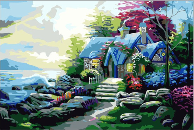 The Best Pictures Paint By Numbers DIY Painting Original Digital Oil Present Decoration Sea House