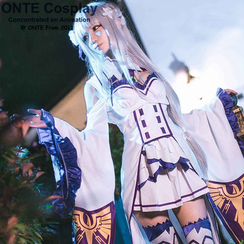 New Anime Re:Zero kara Hajimeru Isekai Seikatsu Cosplay Clothes Emilia Cosplay Costume