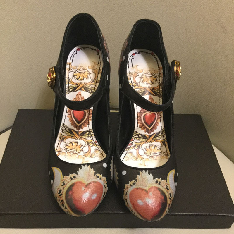 VIISENANTIN Real Leather Female Pumps Shoes Retro Style Chunky Heel Flower Printing Lady Mary Janes Shoe Love Heart Bridal Shoe in Women 39 s Pumps from Shoes