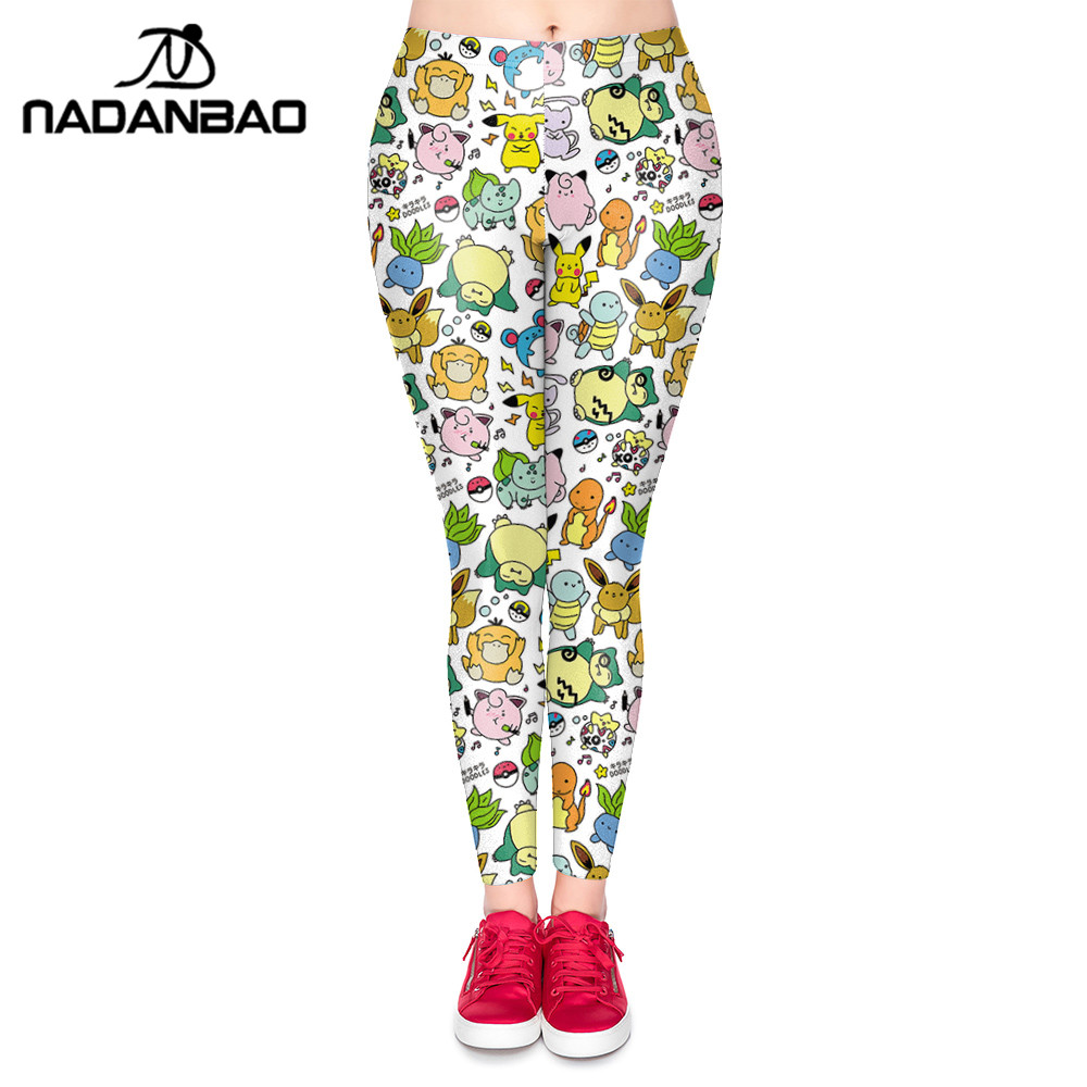 NADANBAO Summer Autumn Cute Leggings Cartoon Pokemon Pikachu Print Women Legging Sexy Leggins Woman High Waist Legins Pants