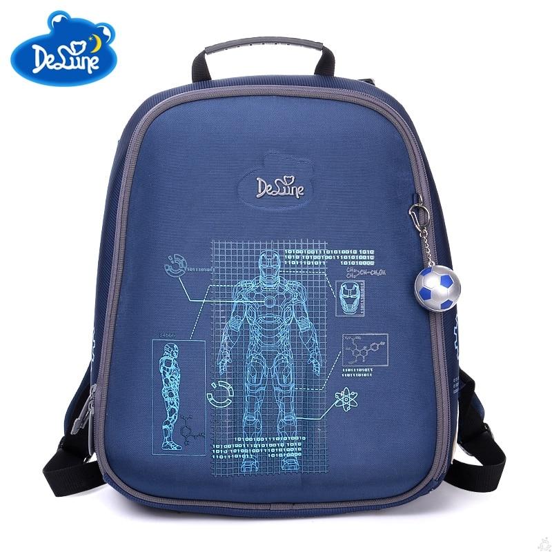 Delune Boys School Bags Backpack Blue Robot Grey Children Kids Primary 1-5 Grade Orthopedic High Waterproof Schooltas Schoolbag цена 2017