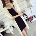 Spring And Summer Knit Cardigan Women Sweater Coat Long Round Collar Loose Pocket Gilet Femme Manche Longue