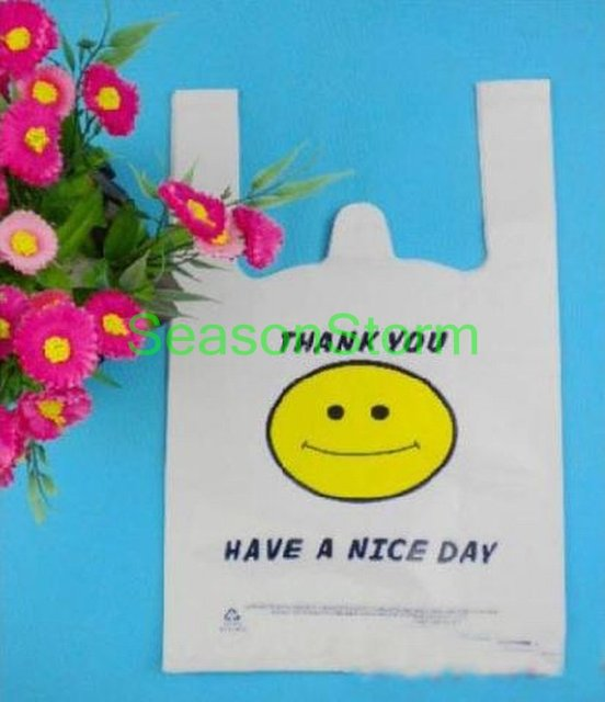 Wholesale 20*32cm  White Smile Face Vest Handle Plastic Bag / Shopping Bag (SD-139)