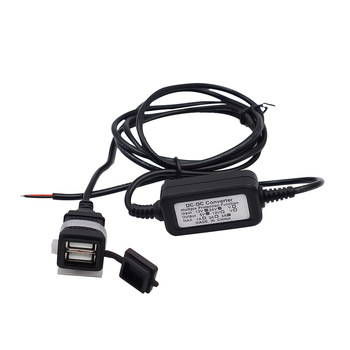 12V 24V to 5V Dual USB Charging Cable Car Hard Wired Step Down Converter Power Supply for Dash Camera Car DVR GPS