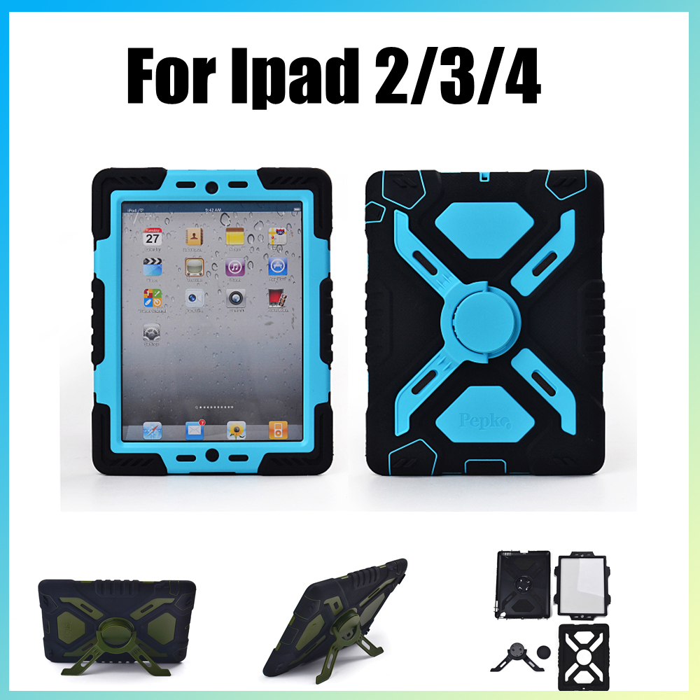 Waterproof Dustproof Shockproof Stand Case Funda For iPad 2 3 4 Pepkoo Brand Spider Extreme Military Heavy Duty Armour Cover