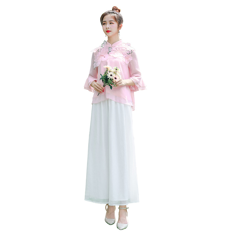 Hot Tang Suit Hanfu Ladies Fashion Suit Two-piece Suit Cheongsam Shirt Dress Chinese Style Retro Chinese Clothing S-XL