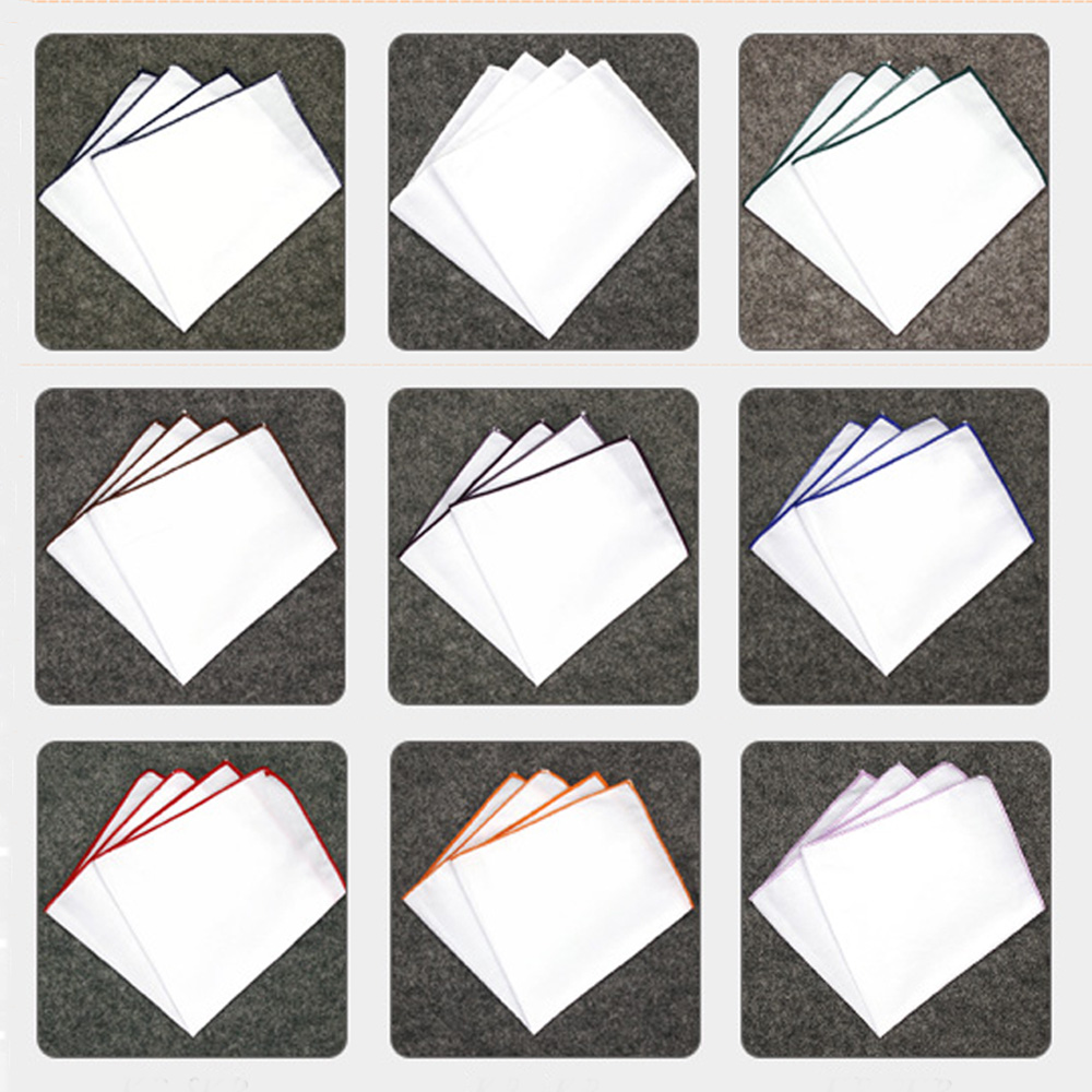 Men White Colorful Pocket Square Handkerchief Wedding Party Hanky BWTYF0080