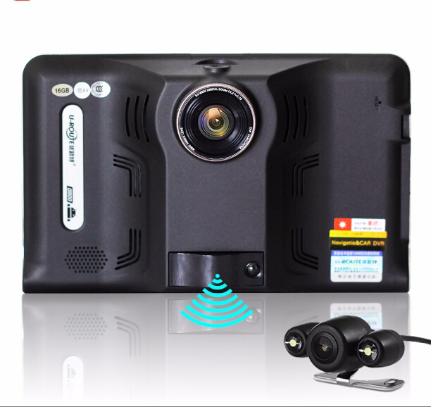 """Nuevo 7 """"coche dvr gps detector de radar 16G + 1080 P Android auto G-sensor de la cámara con la cámara de visión trasera Detector de Radar de Navegación GPS Del Coche"""