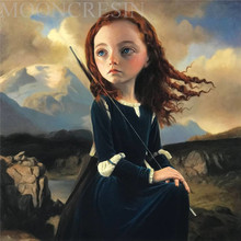 Diy Diamond Painting Cross Stitch Little Girl Sitting On The Hill Diamond Embroidery Full Round Mosaic Decoration Resin Stickers on the black hill