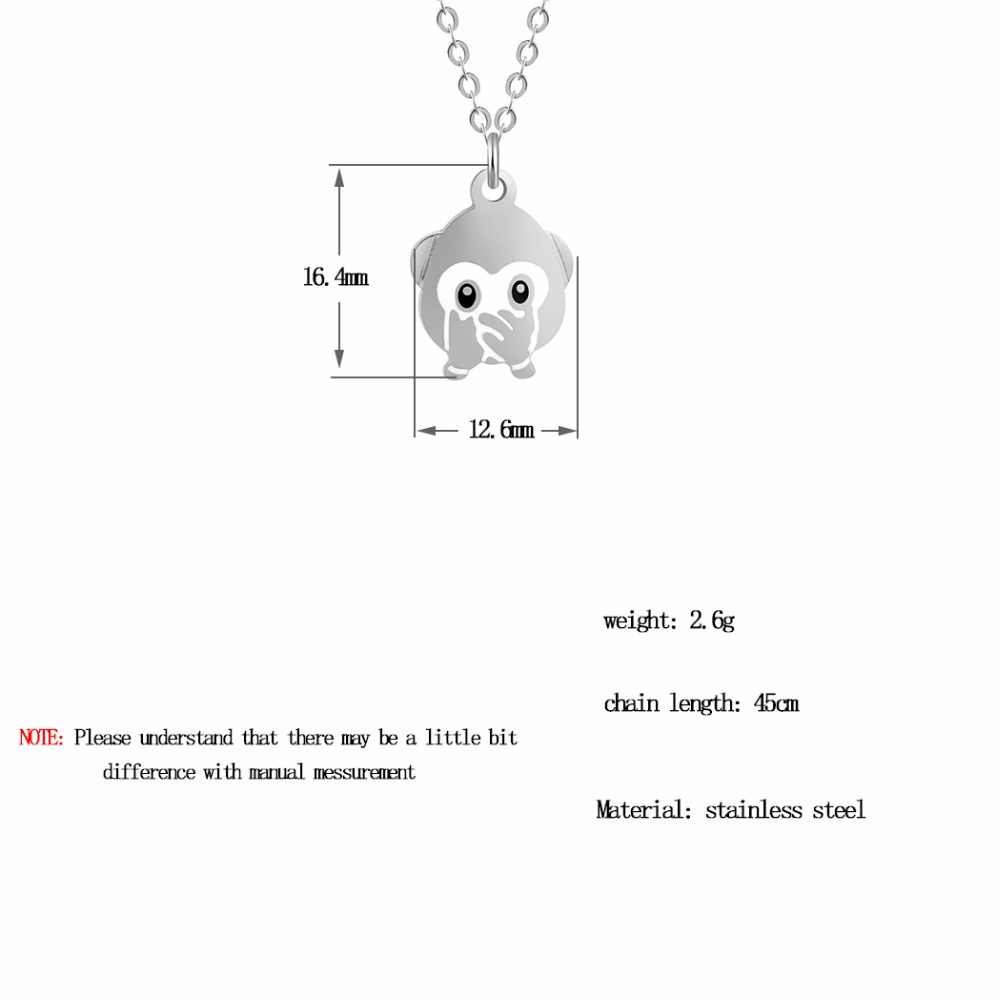 QIAMNI Stainless Steel Monkey Necklace Pendant Cover One's Mouth Emoji Expression Collars for Women Friendship Christmas Gift