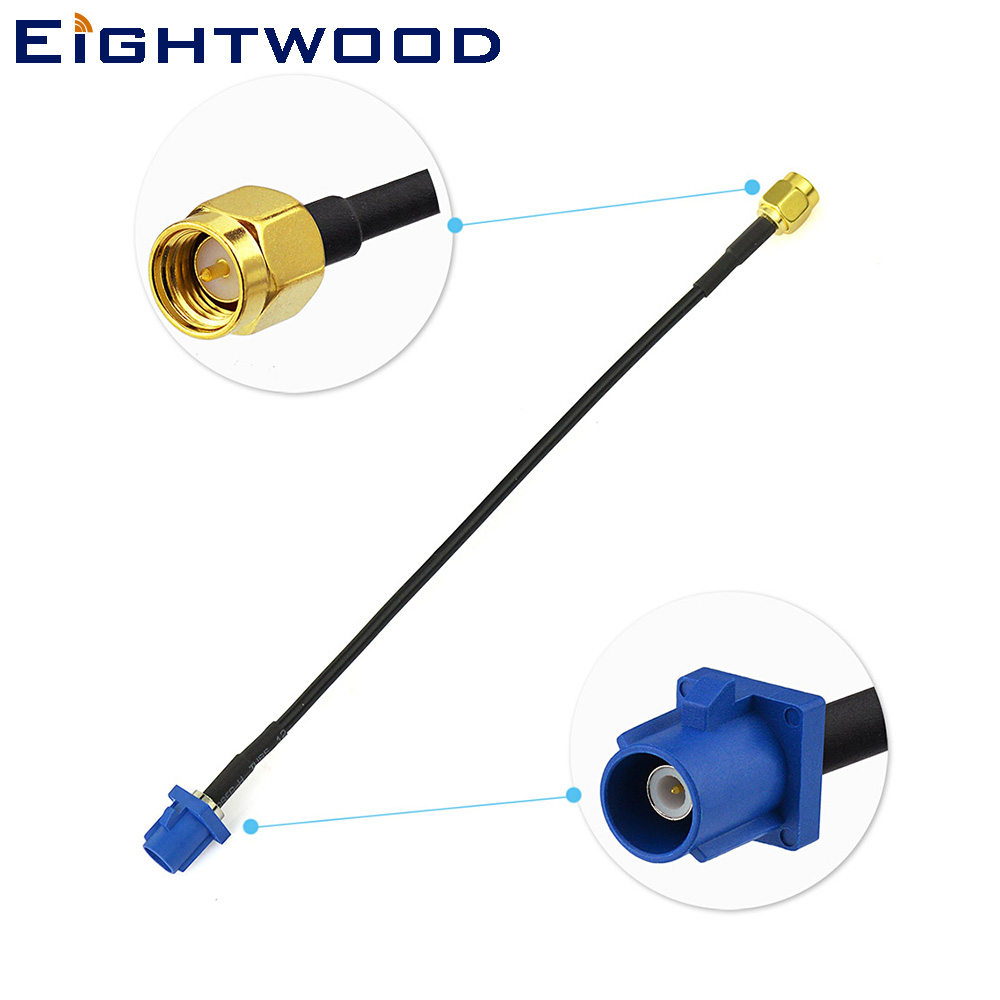 Eightwood Vehicle <font><b>GPS</b></font> Antenna <font><b>Adapter</b></font> Cable <font><b>Fakra</b></font> C Blue (Short version) to SMA Crimp RG174 for Benz Ford Car DVD Player image