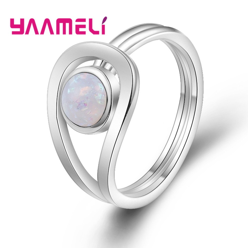 YAAMELI Special Design Two Colors Round Opal 100% 925 Sterling Silver Finger Rings Crystal Jewelry For Women Men Decoration