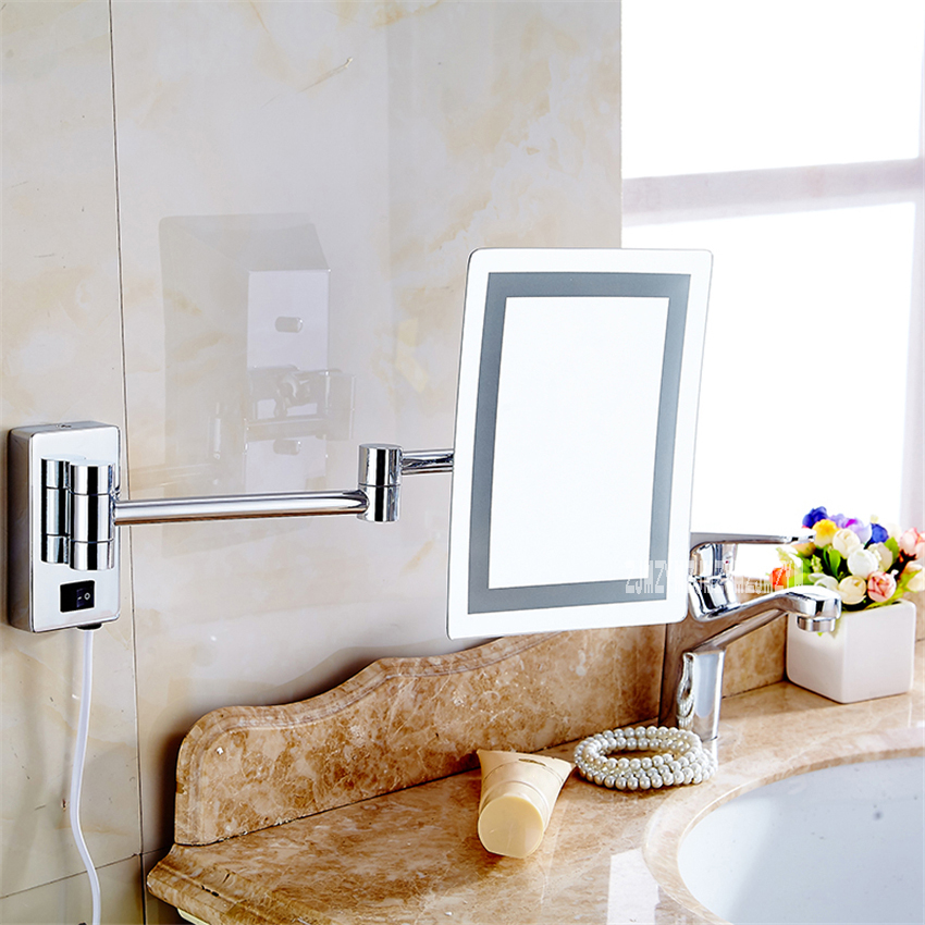 New L5059 Bathroom Magnifying Mirror Folding Single-sided Square Wall Mounted Mirror Telescopic LED Makeup Mirror 110V/220V 4W цена 2017