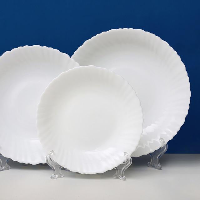 6 pcs/lot Heat-resistant White Opal Glass Porcelain Deep Plates Dishes Tableware Salad & 6 pcs/lot Heat resistant White Opal Glass Porcelain Deep Plates ...