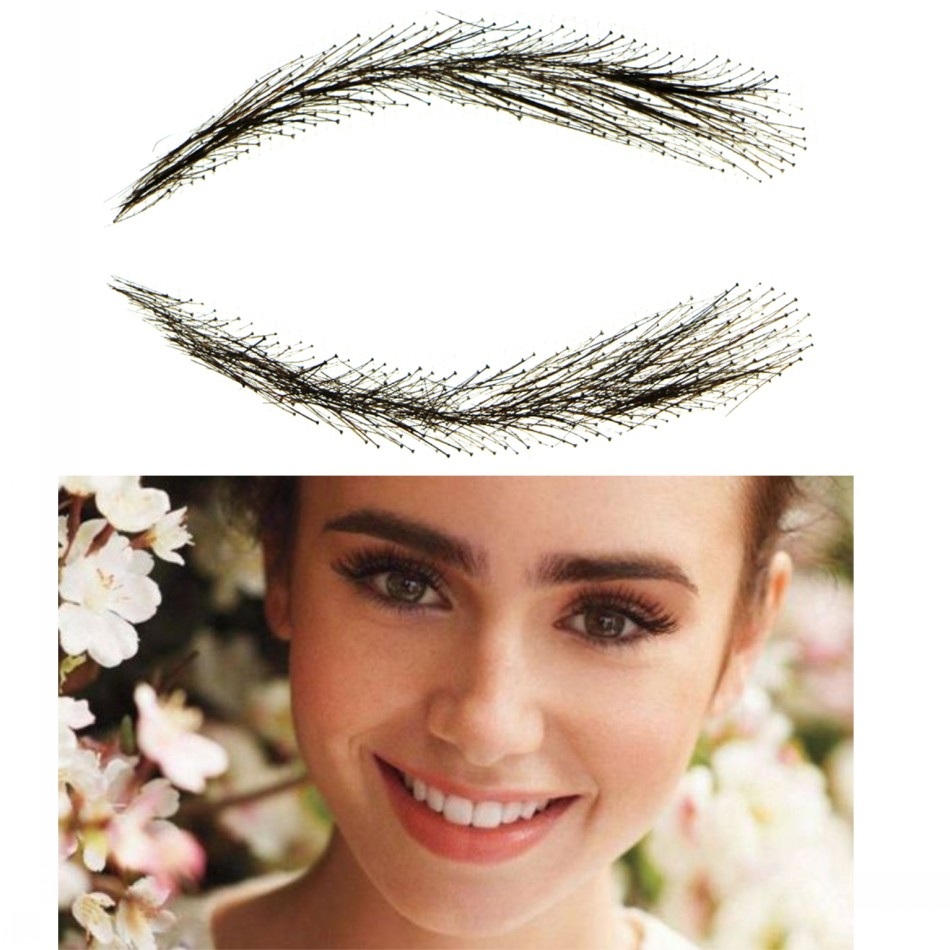 2018 Promotion Hot Sale Natural Eyebrow Sobrancelha Flat Straight Eyebrows Straight brows With 100 Hand Made