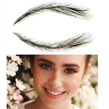2018 Promotion Hot Sale Natural Eyebrow Sobrancelha Flat Straight Eyebrows Straight-brows With 100% Hand Made Human Hair Arched