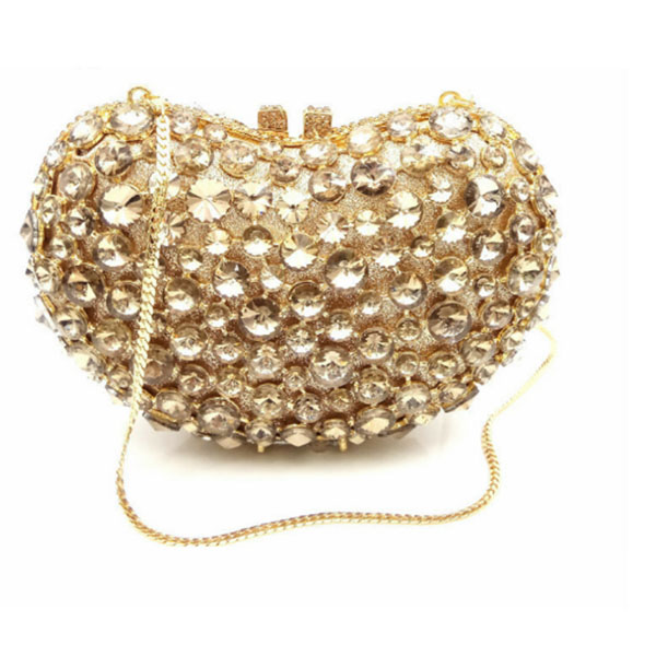 Women heart shape gold Crystal Clutch Evening Bags Bridal Metal silver Rhinestones Handbags Wedding Party Purse Bolso De Boda luxury crystal clutch handbag women evening bag wedding party purses banquet