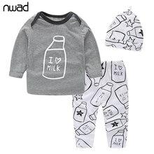 3 Teile / satz Frühling Herbst Neugeborenen Kleidung Mode Milchflasche Drucken Baby Jungen Kleidung Set Langarm T-shirt + Pant + Hut FF034