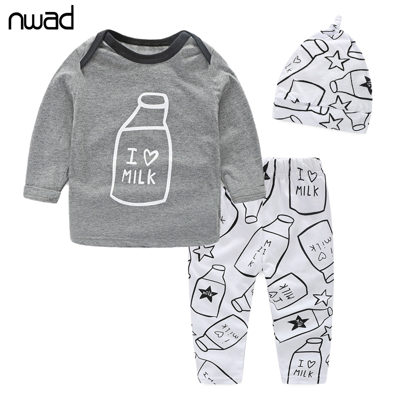 NWAD Milk Bottle Print baby boy clothes 3PCS/Set Newborn Baby Girls Clothes Set Fashion Long Sleeve T Shirt +Pant + Hat FF034