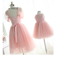 Mother & Kids Family Costumes Mom and Daughter Dress Matching Mother Daughter Mommy and Me Clothes Pink Wedding Party Dress