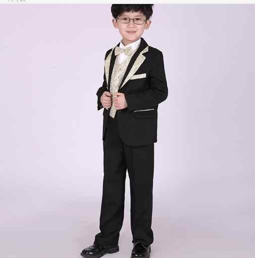 חליפות בני אופנה לילדים חתונות חליפות חתונה חליפות לנשף שחור בני בגדי ילדי ילד סט גדול Tuexdo פורמליות קלאסית תלבושות
