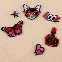 Red Color Star Finger Badge Repair Patch Embroidered Iron On Patches For Clothing Close Shoes Bags Badges Embroidery