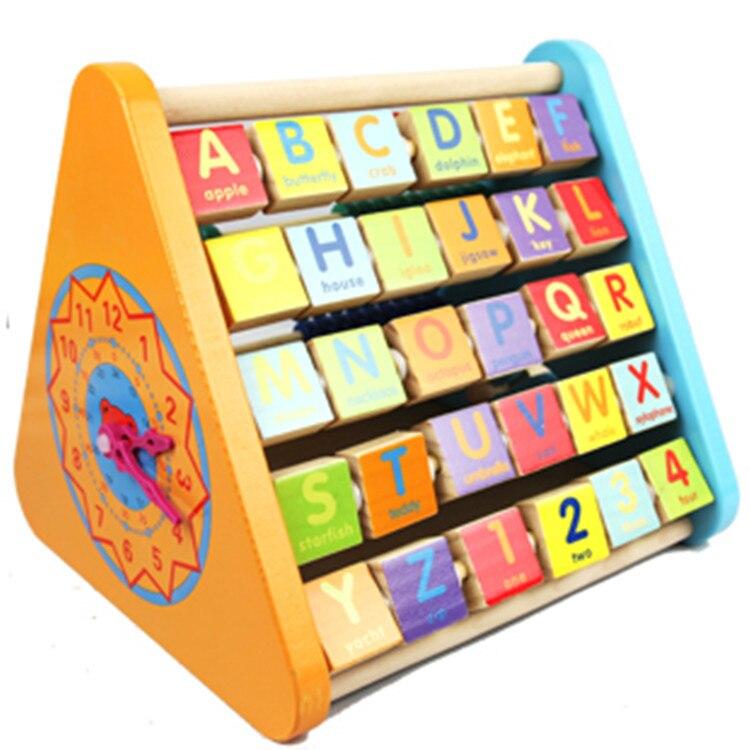 Combinaison de rabat multifonction en bois perles de puissance revigorantes cadre de calcul d'apprentissage à cinq côtés jouets Montessori - 2