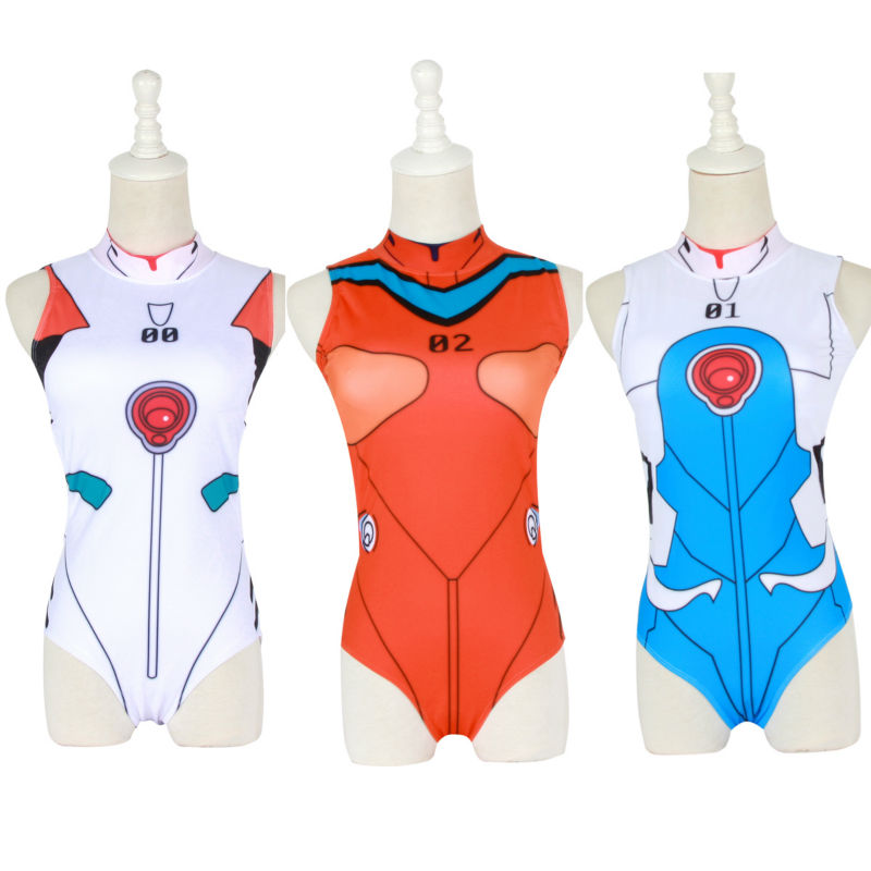 Japanese COS EVA Suit Women Sexy Swimsuit One Pieces bodysuit With Pad Slimming Comic Cos locomotive Print bathing suit new hot sexy high quality two zipper japanese sukumizu school swimsuit one pieces slimming swimsuit women bathing suit with pad