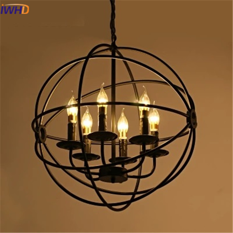 IWHD Vintage Industrial Pendant Lights Loft Style 6 Heads Pendant Lamp Led Retro Iron Lampara Hanging Light Fixtures Lampen iwhd vintage hanging lamp led style loft vintage industrial lighting pendant lights creative kitchen retro light fixtures