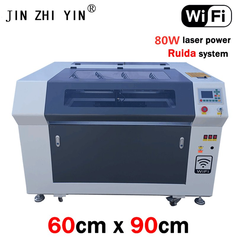 6090 CO2 China Laser Color Gray And White Engraving Machine Wood 80W With Ruida System High Configuration Support Wifi