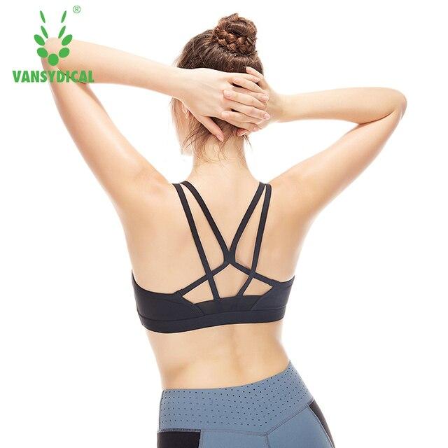 45f105d879 VANSYDICAL Women s Sports Bra Medium Support Elastic Straps Training  Underwear Running Fitness Yoga Push Up Bra Full Coverage