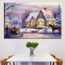 Top Sale Beautiful Housewarming Gifts Thomas Kinkade Snow Field Night Landscape Prints Canvas Wall Art Room Decor Frameless