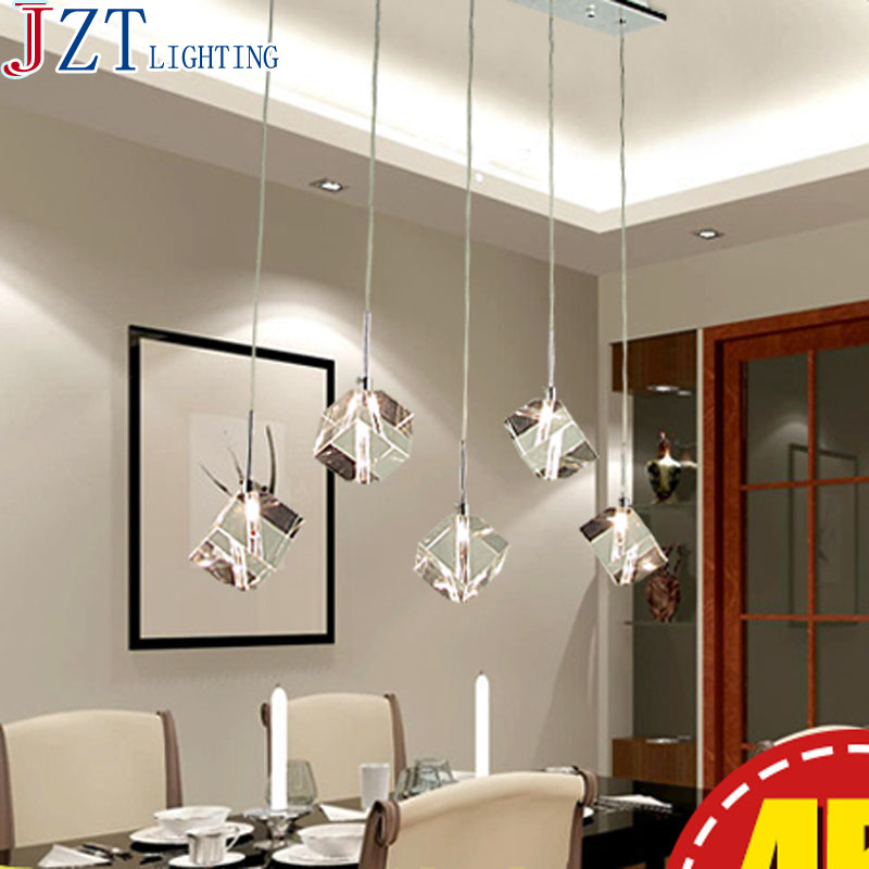 M Modern Concise Transparent Crystal Pendant Light Creative 3/5/7 Head Round Rectangular Stainless Steel Lamp Base Dining Lamp