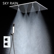 SKY RAIN Concealed Ceiling Mounted Contemporary Bathroom Rainfall Shower System Set with Hand