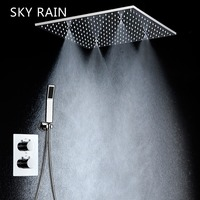 SKY RAIN Concealed Ceiling Mounted Contemporary Bathroom Rainfall Shower System Set with Hand Shower