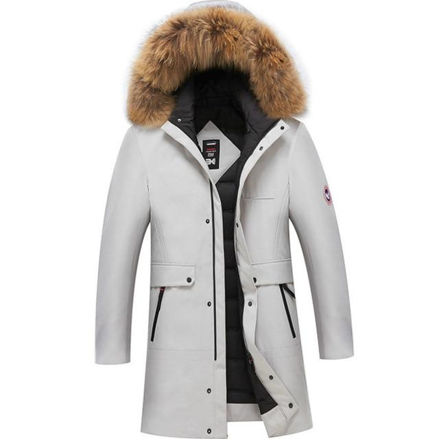 5132ab82d30 2019 New Winter Coat for Men Detachable Hat Coat Long Duck Down Jacket  Puffer Jacket Men White Black Solid Warm Men Parkas Coat